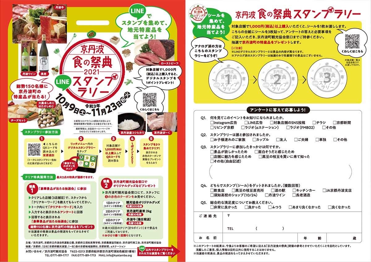 京丹波食の祭典2021LINEスタンプラリーリーフレット(表・裏)